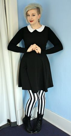 Coffin Kitsch: My Favorite Type Of Outfit #goth #stripes #peterpancollar