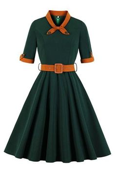 Tonval Green Contrast Bow Neck and Cuff Vintage Belted Dress Half Sleeve Autumn Women Fit and Flare Retro Swing Dresses Vestidos Vintage Retro, Retro Vintage Dresses, Retro Dress, 40s Dress, Belted Dress, Lolita Dress, Vintage Wear, Plus Size Vintage Dresses, Vintage Pins