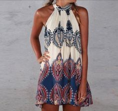 Paisley print lace trim halter dress