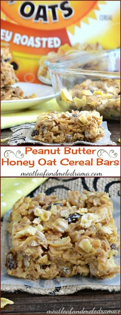 Peanut Butter Honey Oat Cereal Bars -- Made with Honey Bunches of Oats cereal and perfect for a grab and go breakfast or or after school snack. AD