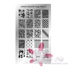 Konad Stamping Nail Art Square Image Plate 01 Professional Lady Beauty Weapon #Konad