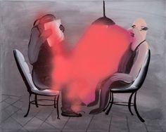 Tala Madani • Red Interrogation • Oil on Linen, 2012 • 16 x 20.25 inches. Image Courtesy of Pilar Corrias Gallery, London