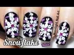 Drag Marble Snowflake Nail Art Tutorial - YouTube