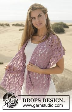 Crochet DROPS shawl with dc and lace pattern in BabyAlpaca Silk. Free pattern by DROPS Design.