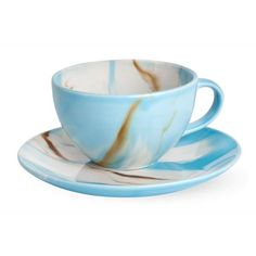 handpainted marble-look stoneware cup and saucer set, Sky Cup and Saucer Set, holiday gifts less than $25