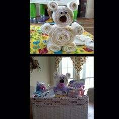 Teddy Bear made out of diapers I made for a friends baby shower :) very cute & very simple!