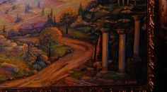 Tuscan painting an old  roman road against a gold by GramsArt, $395.00