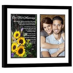 Paper First Anniversary Gift for Your Wife or Husband  Sunflower Photo with Romantic 1st Anniversary Poem  Add Your Photo to Mat in Frame ** Check out the image by visiting the link.
