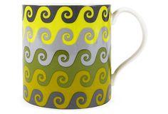 Carnaby Waves Mug by Jonathan Adler, Green on OneKingsLane.com $15