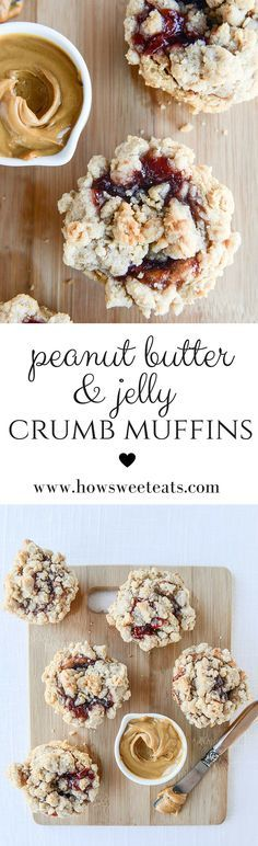 Peanut Butter and Jelly Crumb Muffins by @howsweeteats I howsweeteats.com