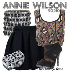 90210 by wearwhatyouwatch on Polyvore featuring polyvore, fashion, style, Lanvin, Madison Harding, Ingenious Jewellery, LowLuv, clothing, knuckle rings, cuff bracelets, shenae grimes, abstract pattern, multi-strap heels, high waisted skirts and annie wilson
