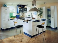 #Kitchen Idea of the Day: Modern Two-Tone Kitchen in blue and white. (By ALNO, AG)