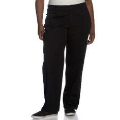 Lee Plain Front Pant, Black Stretch, 24W Petite (Apparel)