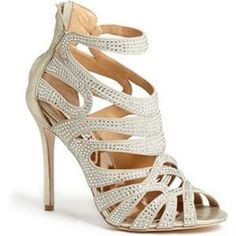 Badgley Mischka 'Taylar' Crystal Embellished Cutout Sandal | Nordstrom (too high but what she wants)