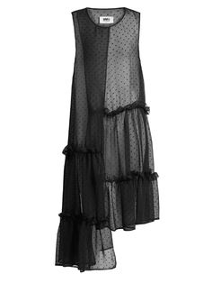 MM6 by Maison Margiela Asymmetric sleeveless dobby-chiffon dress