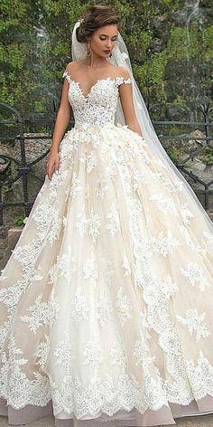 Off the shoulder gold hued wedding dress!