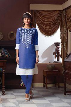 Blue Poly Linen Designer Readymade Kurti 63921