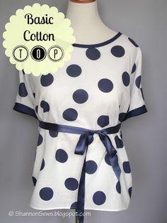 Sew a basic cotton top: round or scoop neckline