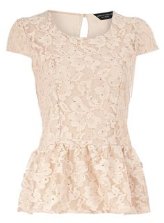 Blush glitter lace peplum top