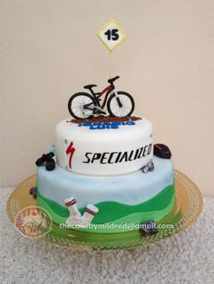 I made this 2 tiered cake for my godson. He is a mountain bike fan. Bicycle Cake, Bike Cakes, Make Up Cake, Love Cake, Mountain Bike Cake, Mountain Biking, Sports Themed Cakes, Sport Cakes, Cupcake Cakes