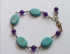 A Turquoise magnesite and Purple Jade Bracelet by thebeadedcottage