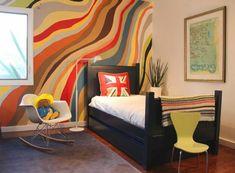 bunte wand gestaltung im jugendzimmer - 62 kreative Wände streichen Ideen – interessante Techniken