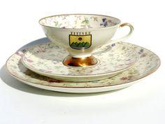 Vintage Alka Bavaria Porcelain Tea Set/Vintage Alka Bavaria Teacup Saucer And Cake Plate From Titsee