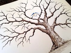SMALL BROWN HEART Oak Wedding Guest book tree- 16x12  Customized  Giclée Print of my Original Painting.  Accommodates up to 60 guests