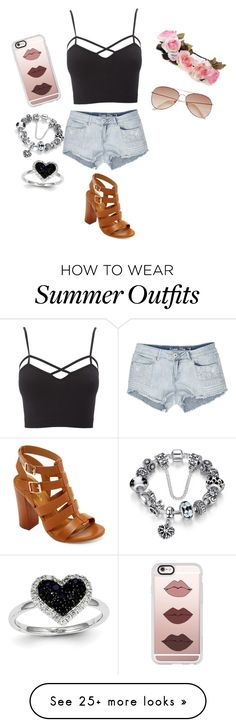 """Summer outfit"" by lucie-lu37 on Polyvore featuring Charlotte Russe, Bamboo, Casetify, H&M and Kevin Jewelers"