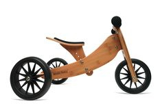 """The Kinderfeets Tiny Tot Bamboo is a bike that easily converts from a tricycle to a balance bike! Designed for """"tiny tots"""" ages 12 to 24 months, Kinderfeets Tiny Tot starts off as a tricycle and when needed it easily converts into a Tricycle, Powered Bicycle, Bamboo Construction, Push Bikes, Balance Bike, Ride On Toys, Gross Motor Skills, Bike Design, Inevitable"""