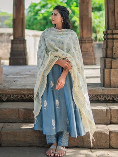 Buy Grey Block Printed Chanderi Kurta with Pants and Ivory Dupatta- Set of 3 onl… Buy Grey Block Printed Chanderi Kurta with Pants and Ivory Dupatta- Set of 3 onl…,blouse Buy Grey Block Printed. Silk Kurti Designs, Kurta Designs Women, Kurti Designs Party Wear, Pakistani Dress Design, Pakistani Dresses, Indian Dresses, Ethnic Outfits, Indian Outfits, Chanderi Suits