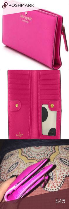 Kate Spade cedar street Stacie wallet - hot pink Hardly used, small imperfection on edge, but otherwise spotless interior and perfect gold logo! kate spade Bags Wallets
