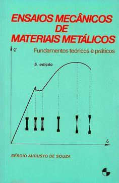 SOUZA, Sérgio Augusto de. Ensaios mecânicos de materiais metálicos: fundamentos teóricos e práticos. 5 ed. reimpr. São Paulo: Blucher, 2014. 286 p. Inclui bibliografia e índice; il. tab. quad.; 21x14x2cm. ISBN 9788521200123.  Palavras-chave: METAIS/Ensaios mecânicos; RESISTENCIA DOS MATERIAIS METALICOS.  CDU 620.179.12 / S729e / 5 ed. reimpr. / 2014