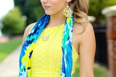 Neon yellow eyelet and a watercolor accent scarf