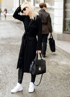Shoes - Nike Air Force 1, Bag - Langos - Coat - Romwe, Trousers - Romwe (image: victoriatornegren)