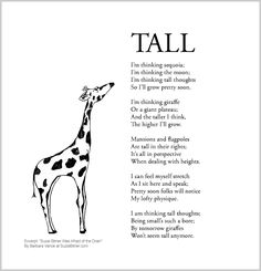 """Funny children's poem about growing taller. Great for classroom reading lessons for kindergarten, and grade, common core, and for ESL lessons. Excerpt from the poetry collection, """"Suzie Bitner Was Afraid of the Drain"""" by Barbara Vance. Esl Lessons, Reading Lessons, Homemade Birthday Gifts, Pretty Soon, Kids Poems, Classroom Projects, Poetry Collection, How To Grow Taller, Funny Kids"""
