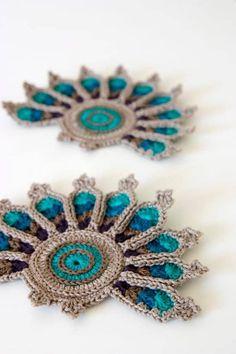 Crochet Peacock Coasters