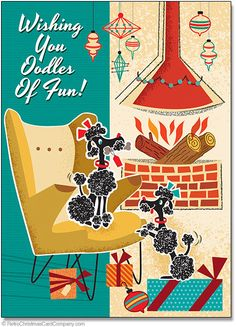 Poodles Christmas Cards wish your family and friends oodles of fun with this cute card featuring two fuzzy poodles next to a modern fireplace in a fun retro scene at Christmastime.  8 cards & envelopes $12.00 | Folded Card Size 4.5″x 6.25″