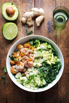 Spicy Shrimp & Avocado Salad with Miso Dressing.minus the lime, and most likely the miso dressing too Seafood Recipes, Dinner Recipes, Cooking Recipes, Healthy Recipes, Keto Recipes, Chickpea Recipes, Cheap Recipes, Carrot Recipes, Broccoli Recipes