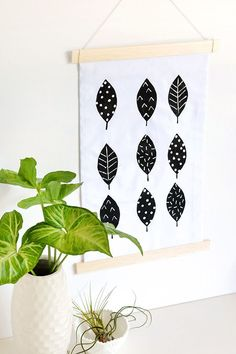 Scandinavian inspired leaf wall hanging
