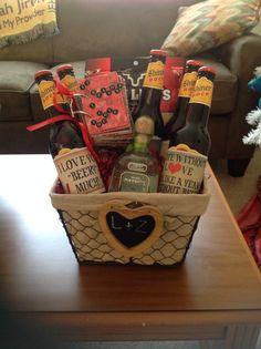 Valentine day basket my daughter made her boyfriend.... Patron, shiner bock