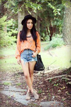 www.jessicafashionnotes.com  #boho #grunge #hipster #hat #moda #ootd #shorts #booties #bohemia #fashionblogger