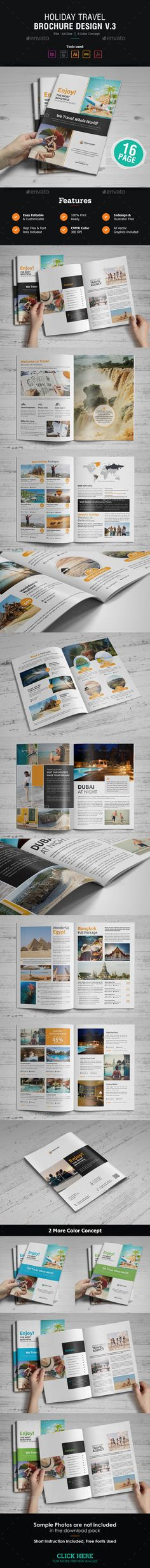 Holiday Travel Brochure Design Template 16 Pages Vector EPS, InDesign INDD, AI Illustrator