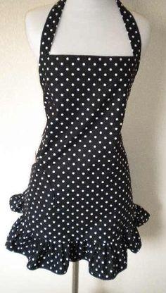 black with white polka dot hostess apron