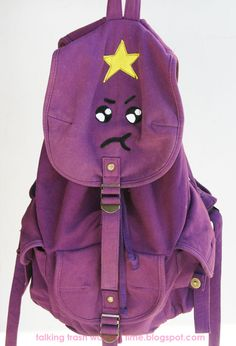 How to pimp up your backpack to make your own Adventure Time Lumpy Space Princess school bag via Talking Trash & Wasting Time #craft #purple