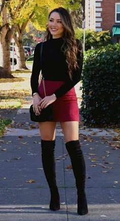 Overknee Stiefel Outfit Street Style Ideen – Outfit Ideas – Over The Knee Boots Outfit Street Style Ideas – Outfit Ideas – Spring Outfits Classy, Casual Fall Outfits, Winter Fashion Outfits, Stylish Outfits, Holiday Outfits, Fashion Boots, Winter Party Outfits, Autumn Outfits Women, Dinner Outfit Classy