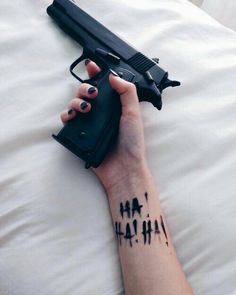 batsy-batsy-batsy: That Joker influence Red Hood, Geniale Tattoos, Joker And Harley Quinn, Tatoos, Piercings, Guns, Black, Aesthetics, Gun Aesthetic