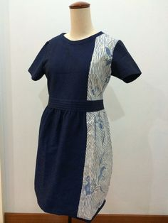 Dress made from combination of Batik tulis and navy batik doby. Dress made by Dongengan