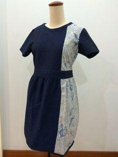 Dress made from combination of Batik tulis and navy batik doby. Dress made by Dongengan