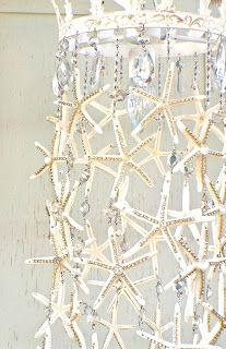 Could make with starfish and Grams crystals. Starfish and Crystal Chandelier Tutorial: Debis Design Diary - Perfect for a mermaid bedroom or beach house! Coastal Homes, Coastal Decor, Coastal Style, Coastal Living, Coastal Curtains, Coastal Entryway, Coastal Rugs, Seaside Decor, Coastal Bedding